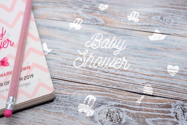 Alto angolo di quaderno per baby shower Psd Gratuite