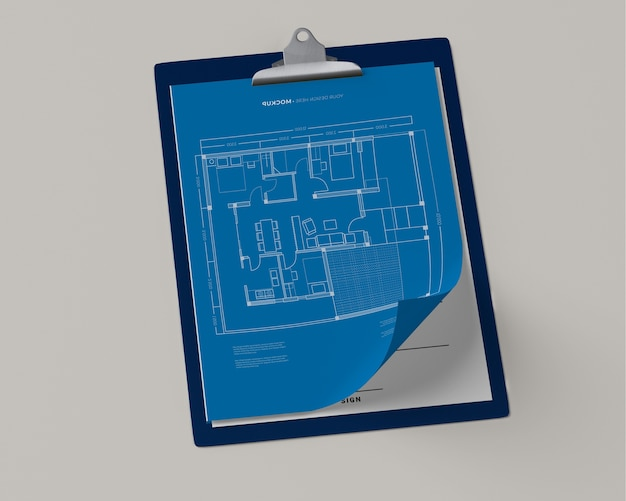 High angle of notepad with blueprint Free Psd