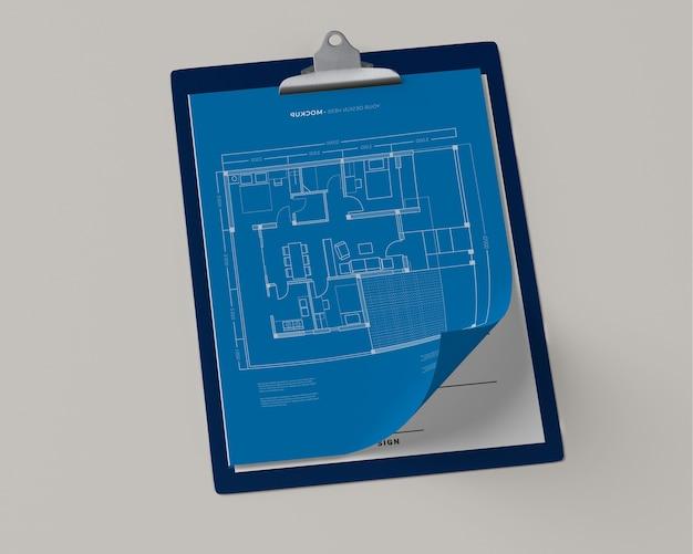 Высокий угол блокнота с планом Бесплатные Psd