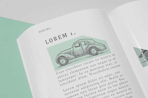 車のイラストが高角開いた本のモックアップ 無料 Psd