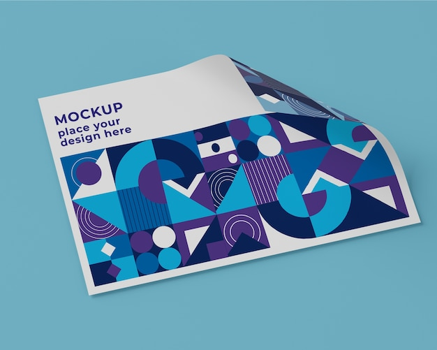High angle of paper mock-up with geometric design Free Psd