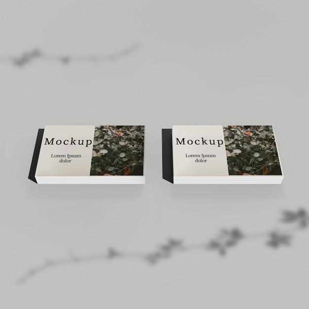 High angle of stack of cards with shadow Free Psd