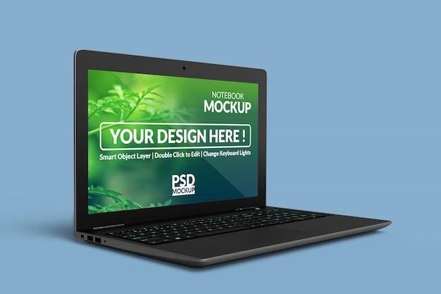 高品質でリアルなノートブックデバイスのモックアップ Premium Psd