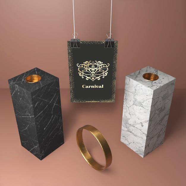 Blocchi moderni astratti di alta vista ed anello dorato Psd Gratuite