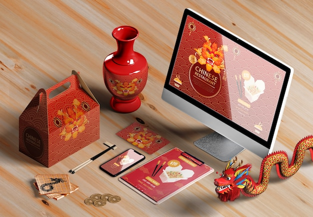 High view digital devices and gifts for chinese new year Free Psd