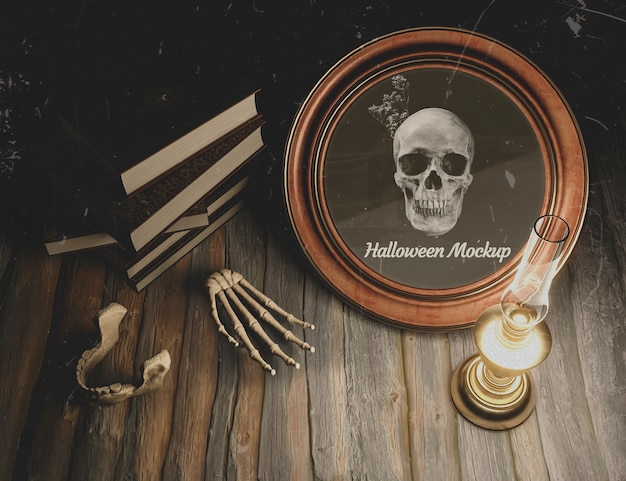 High view halloween decoration with candle on table Free Psd