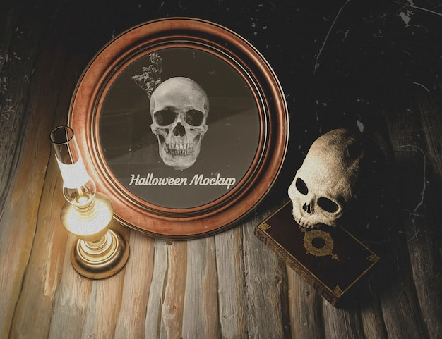 High view halloween round frame with skull Free Psd