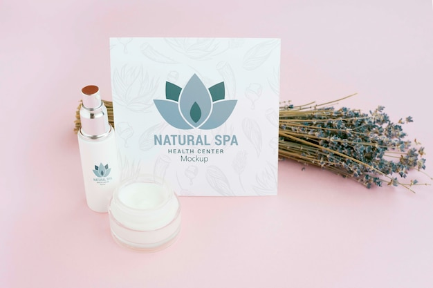 High view lavender and salt spa concept Free Psd