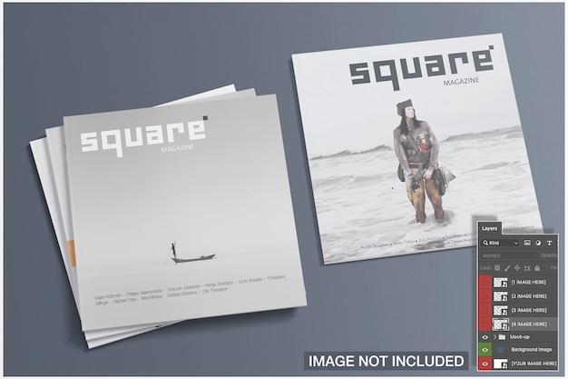 4 개의 정사각형 잡지의 이랑 커버 이랑 커버 무료 PSD 파일