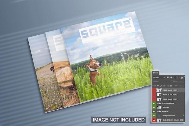 3 닫힌 사각형 잡지 이랑의 높은보기 무료 PSD 파일