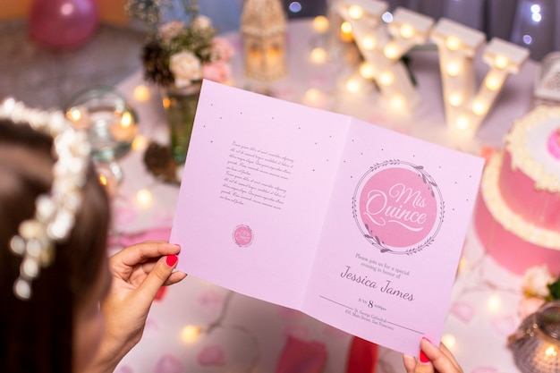 High view open invitation brochure for sweet fifteen Free Psd