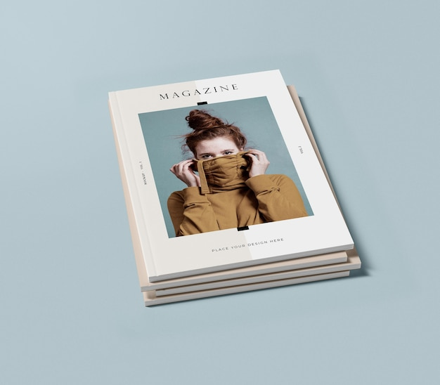 High view pile of books with woman editorial magazine mock-up Free Psd