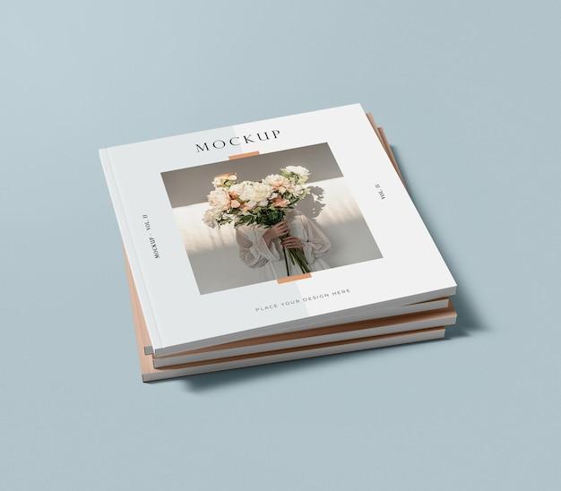 책 편집 잡지 모형의 추상 위치의 높은보기 더미 무료 PSD 파일