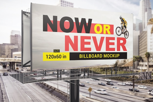 Highway billboard mockup Premium Psd