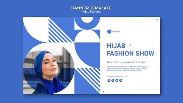 Hijab fashion banner template with photo Free Psd