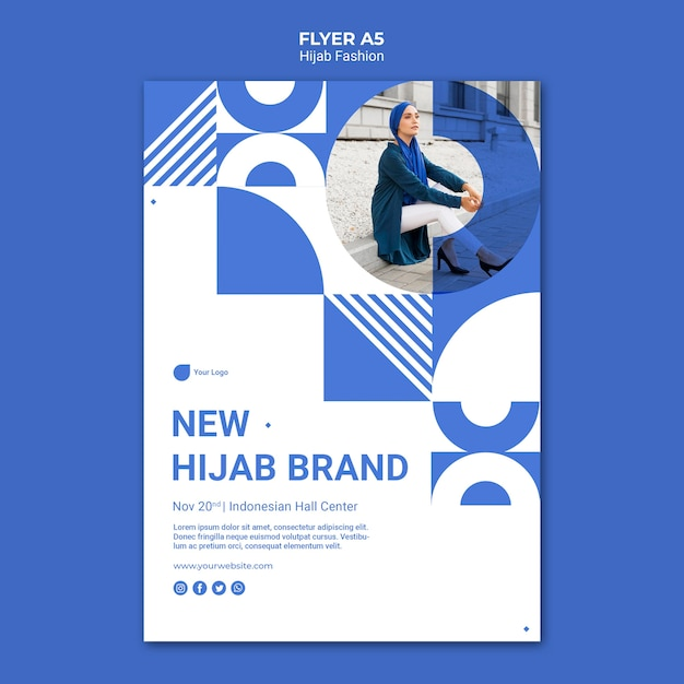 Hijab fashion flyer template with photo Free Psd
