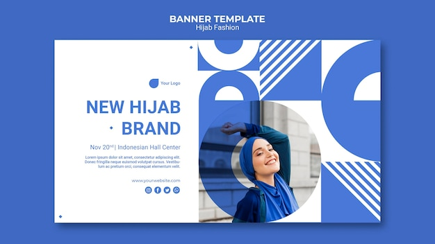 Hijab fashion horizontal banner template with photo Free Psd