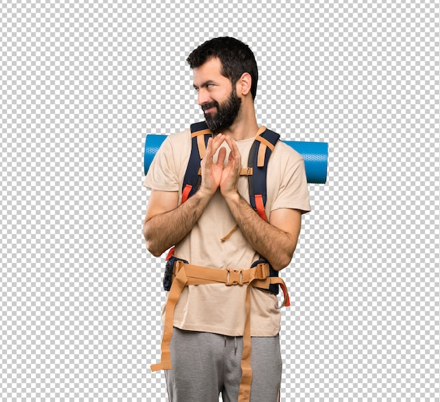 Hiker man scheming something Premium Psd