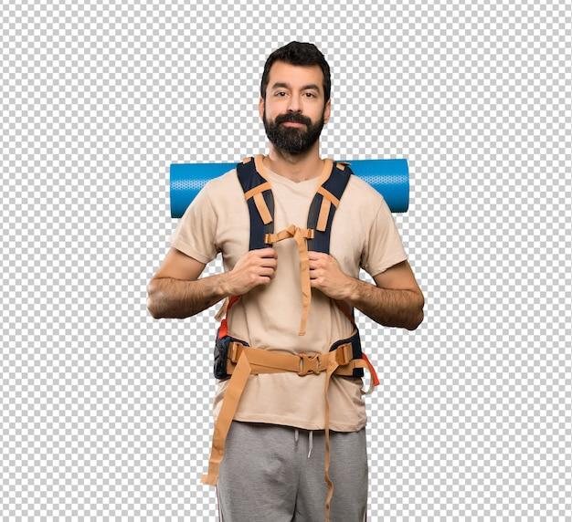 Hiker man walking Premium Psd