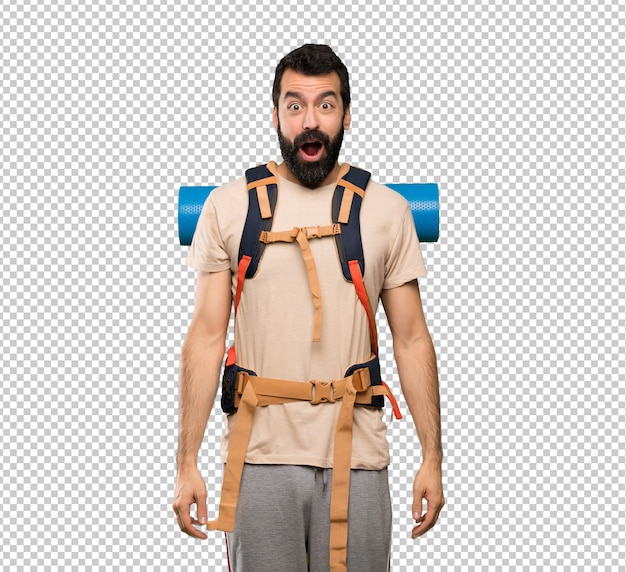 Hiker man with surprise facial expression Premium Psd