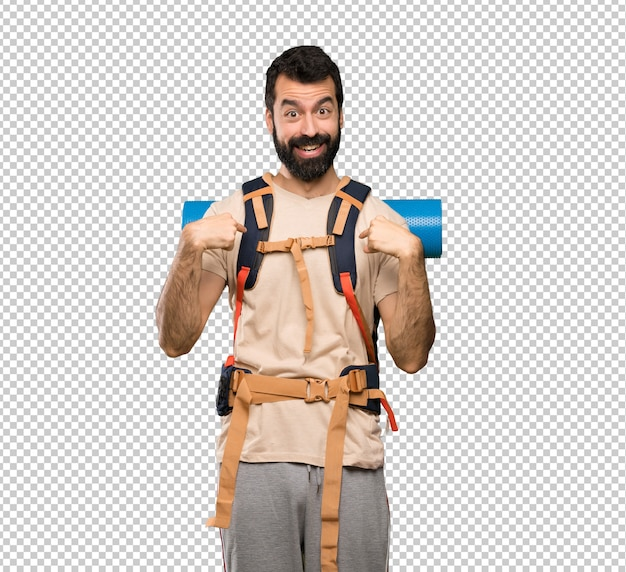 Hiker man with surprise facial expression Premium Psd