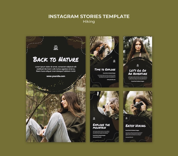 Hiking ad instagram stories template Premium Psd