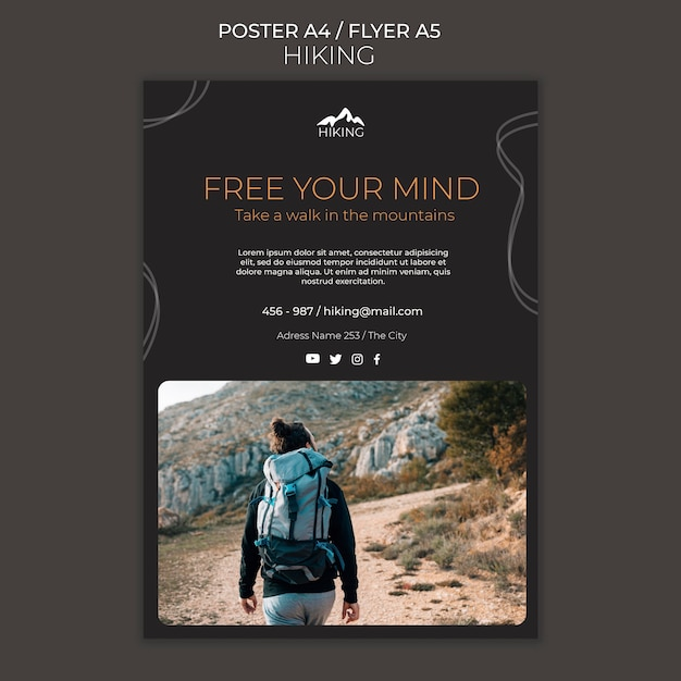 Hiking ad poster template Free Psd