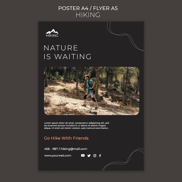 Hiking ad template poster Free Psd