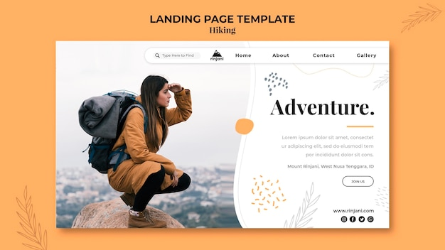 Hiking adventure landing page template Free Psd