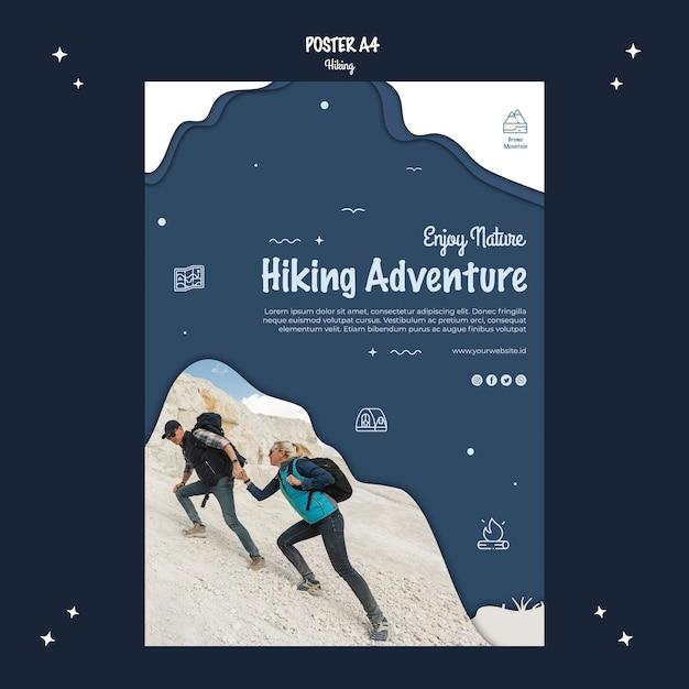 Progettazione di poster di avventura escursionistica Psd Gratuite