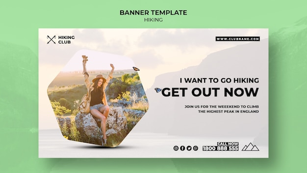 Hiking banner concept with quote Free Psd