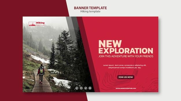 Hiking banner template Premium Psd