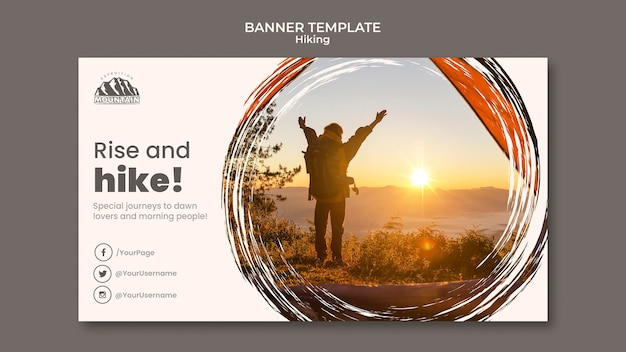 Hiking banner template Free Psd
