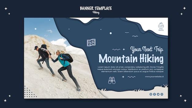 Concetto di escursionismo banner modello di stile Psd Gratuite