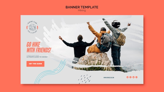 Hiking concept banner template Free Psd