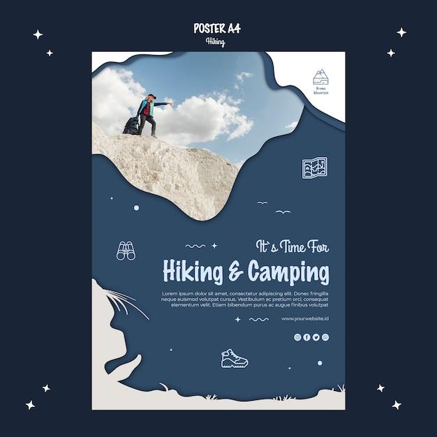 Stile di poster concetto di escursionismo Psd Gratuite