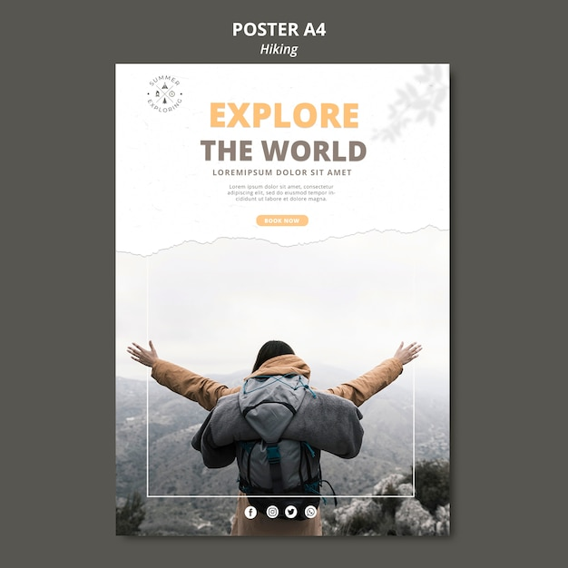Hiking concept poster template Premium Psd