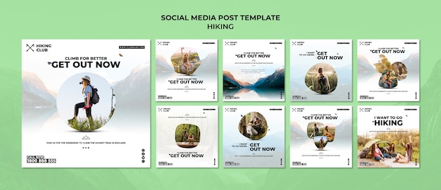 Hiking concept social media post template Free Psd