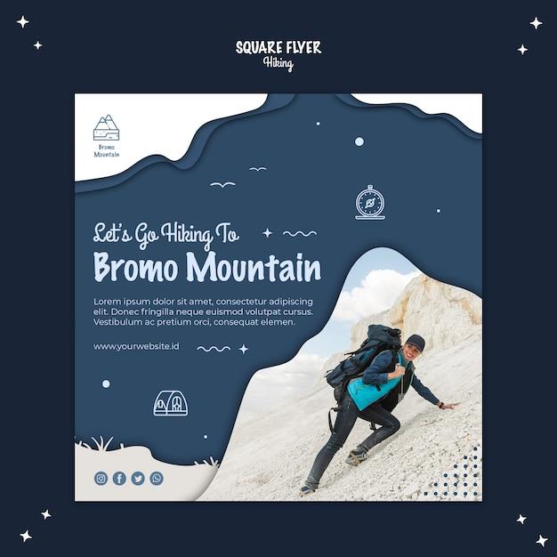 Escursionismo concetto design quadrato volantino Psd Gratuite