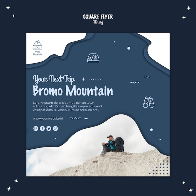 Hiking concept square flyer template Free Psd