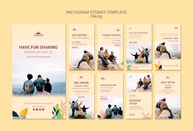 Hiking instagram stories template Free Psd