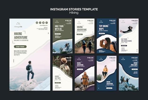Hiking instagram stories template Premium Psd