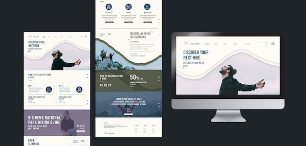 Hiking landing page template Free Psd