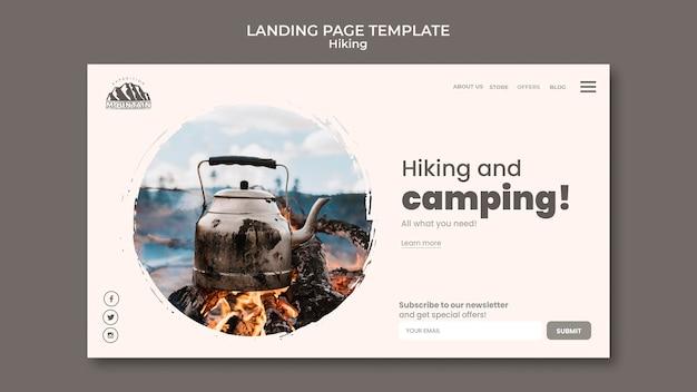 ハイキングのランディングページ 無料 Psd