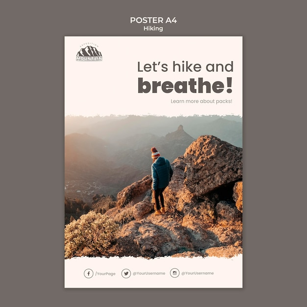 Hiking poster template Free Psd