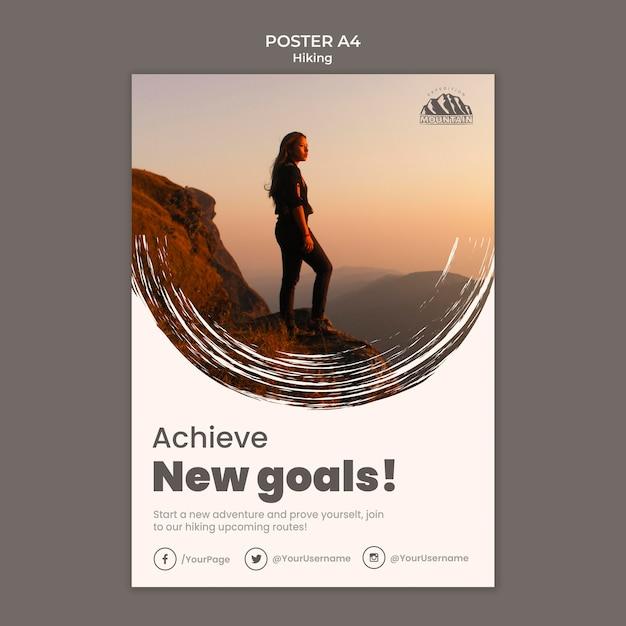 Hiking poster template Premium Psd