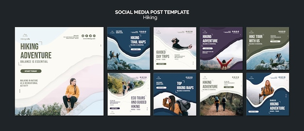 Hiking social media post template Free Psd