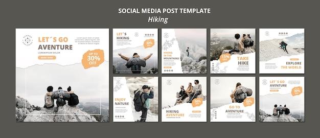 Hiking social media post template Premium Psd