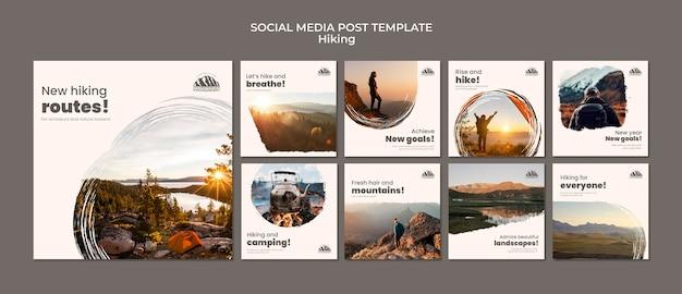 하이킹 소셜 미디어 게시물 프리미엄 PSD 파일