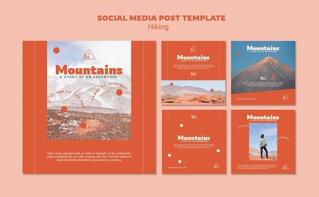 하이킹 소셜 미디어 게시물 무료 PSD 파일